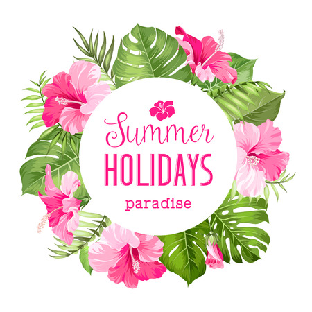 Illustration pour Tropical flower frame with summer holidays text. Vector illustration. - image libre de droit