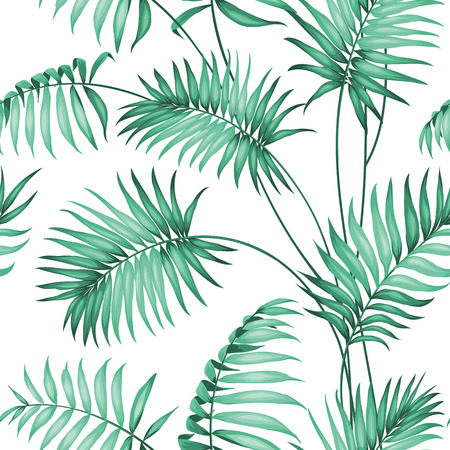 Ilustración de Topical palm leaves on seamless pattern. Vector illustration. - Imagen libre de derechos