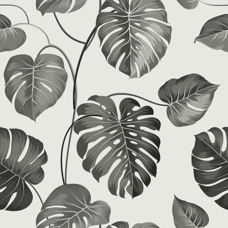 Foto de Topical palm leaves on seamless pattern. Vector illustration. - Imagen libre de derechos
