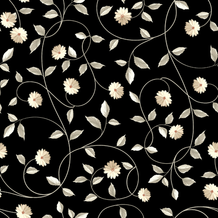Illustration pour Wallpaper texture. Seamless floral background. Shabby chic style patterns with blooming chicory over blue background. Vector illustration. - image libre de droit