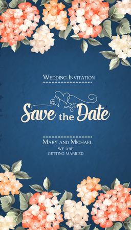 Ilustración de Invitation vertical card. Floral vertical vintage invitation with orange garden blooming flowers. Vector illustration. - Imagen libre de derechos