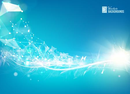 Ilustración de Blue smooth light lines background with polygonal network element. Asymmetric triangle structure. Abstract background for science presentations. Vector Illustration. - Imagen libre de derechos