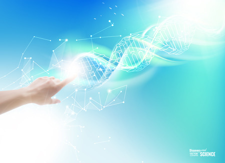 Ilustración de Science concept image of human hand touching DNA. Vector illustration. - Imagen libre de derechos