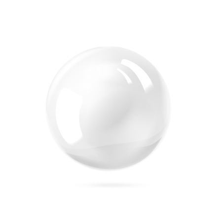 Illustrazione per White pearl. White sphere on white background. Abstract banner with white ball. Vector illustration, contains transparencies, gradients and effects. - Immagini Royalty Free