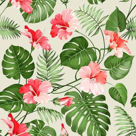 Illustration for Seamless tropical pattern. Blossom flowers for seamless pattern background. Vector illustration. - Royalty Free Image