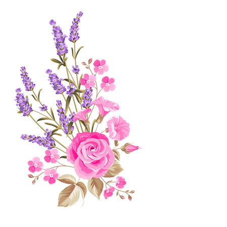 Ilustración de Single rose bouquet. Gentle vintage card with hand drawn floral wreath in watercolor style of lavender. Vector illustration. - Imagen libre de derechos