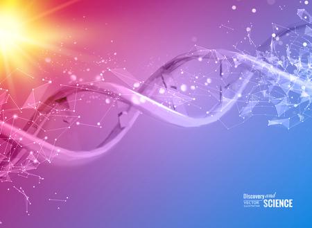 Illustration pour Scince illustration of a DNA molecule. Vector illustration. - image libre de droit