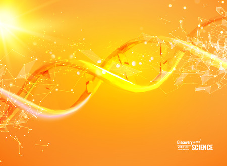 Illustration pour Science template for your card, orange wallpaper or banner with a DNA molecules of polygons. Wire-frame mesh polygonal element. Glow light futuristic background. Vector illustration. - image libre de droit