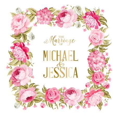 Photo pour The marriage card. Wedding invitation card template. Border of red flowers in vintage style. Marriage invitation card with custom sign and flower frame over white background. Vector illustration. - image libre de droit