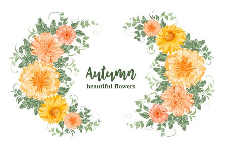 Illustration pour Yellow autumn flowers. Chrysanthemum garland composition. Orange blossom wreath isolated on white background. Vector illustration. - image libre de droit