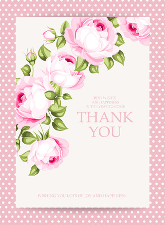 Illustration for Invitation text card with Thank You sign. Blooming rose garland at the left side of invitation card isolated over white background with pink border. Vector illustration. - Royalty Free Image