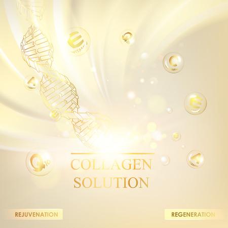 Ilustración de Concept Skincare Cosmetic. Regenerate cream and Vitamin Background. Sepia banner with a DNA molecule of polygons. Vector illustration. - Imagen libre de derechos