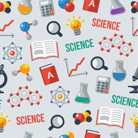 Illustration pour Science seamless pattern. Back to school background. - image libre de droit