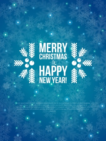 Illustration pour Merry Christmas and Happy New Year Card.  Vector illustration. Blurred background.  - image libre de droit
