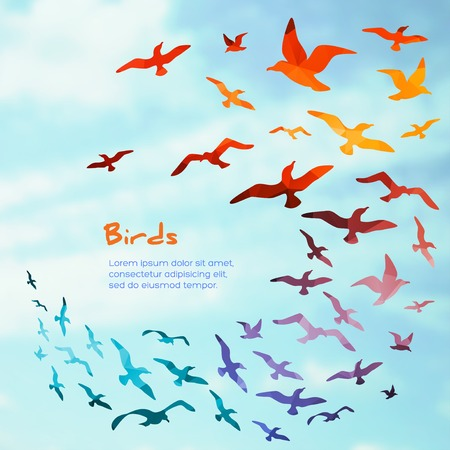 Illustration pour Banners with flying birds silhouettes. vector illustration. - image libre de droit