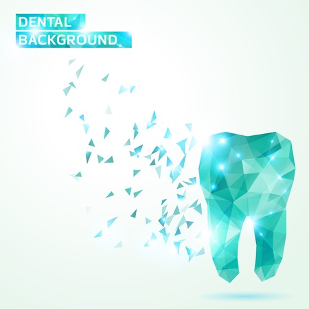 Ilustración de Abstract illustration. Dental background in origami style.  - Imagen libre de derechos