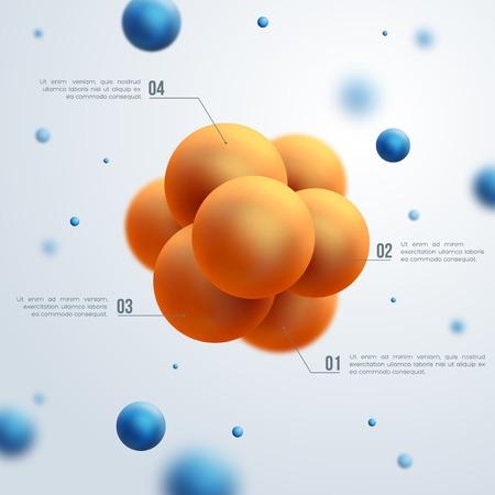 Illustration pour Vector illustration. Atoms. Group of atoms forming molecule. Chemical technology concept. - image libre de droit