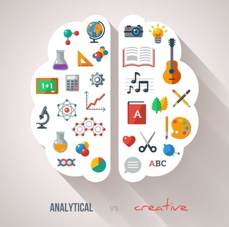 Illustration pour Vector concept. Textured background. Sciences and arts. Back to school icons. Left and right brain functions. - image libre de droit