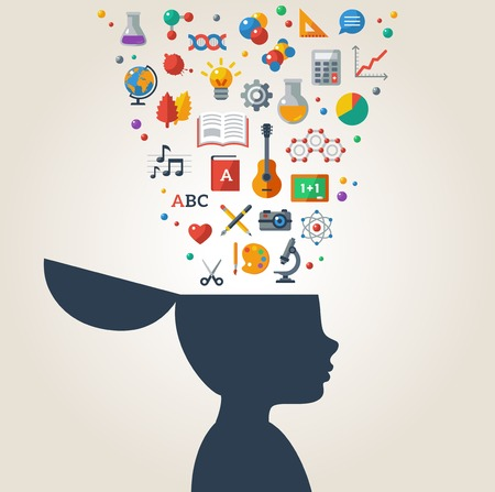 Photo pour Vector illustration. Boy silhouette with school icons and symbols in his head. Back to school. Learning process. - image libre de droit