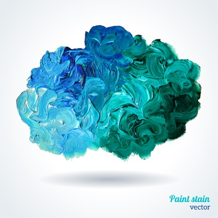 Illustration pour Cloud of blue and green oil paints isolated on white. Abstraction composition. Vector design. - image libre de droit