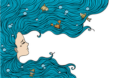 Ilustración de Girl with blue hair. Vector illustration. Woman portrait. - Imagen libre de derechos