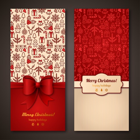 Illustration for Place for your text message. Design in classic Christmas colors. Holiday brochure design for corporate greeting cards. - Royalty Free Image