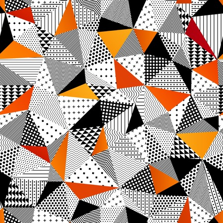 Illustration for Contrasting fashionable polygonal backdrop with black and orange panes. Beautiful geometric design for various craft projects. - Royalty Free Image