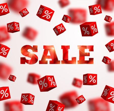 Illustration pour Sale poster. Vector illustration. Design template for holiday sale event. 3d red cubes with percents. Original festive backdrop. - image libre de droit