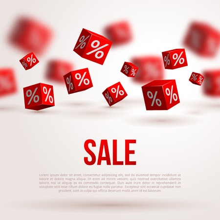 Illustration pour Sale poster. Vector illustration. Design template for holiday sale event. 3d red cubes with percents. Original festive backdrop. - image libre de droit