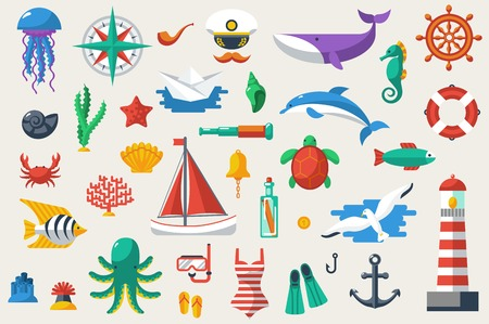 Illustration for Vector illustration. Sea leisure sport. Nautical design elements. - Royalty Free Image