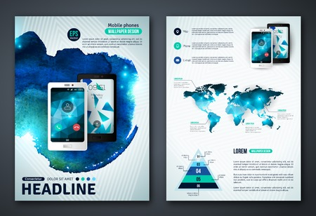 Ilustración de Abstract Background for Business Documents, Flyers and Placards. Mobile Technologies, Applications and Online Services Infographic Concept. - Imagen libre de derechos