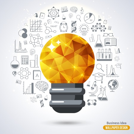 Ilustración de Light Bulb with Triangle Pattern background. Vector Illustration. Technology, Research and Science Line Style Icons. Business Idea Creative Concept. Idea Abstract Infographics. - Imagen libre de derechos