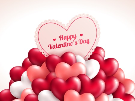 Illustration pour Valentine\\\'s day background with shining hearts.  - image libre de droit