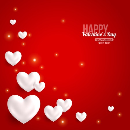 Illustration pour Valentines Day Card Design with Hearts for Holiday Design.  - image libre de droit