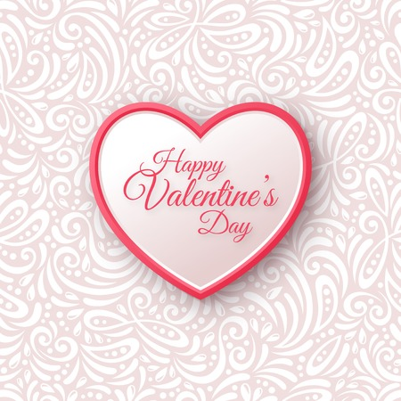 Illustration pour Pink and White Paper Heart.  Valentines Day Greeting Card on Seamless Ornate Background.  - image libre de droit