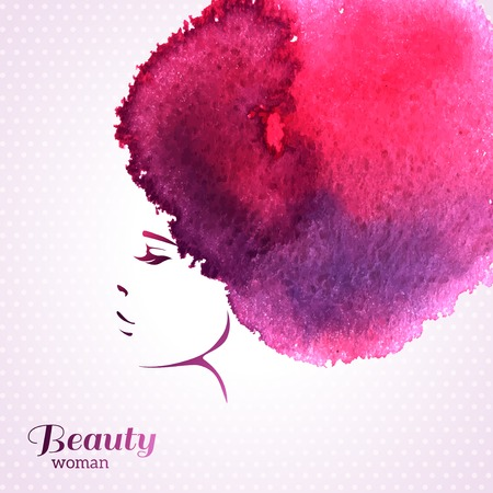 Foto für Fashion Woman Portrait with Watercolor Stain like Hair. Vector Illustration. Stylish Design for Beauty Salon Flyer or Banner. Girl Silhouette. Cosmetics. Beauty. Health and spa. Fashion themes. - Lizenzfreies Bild
