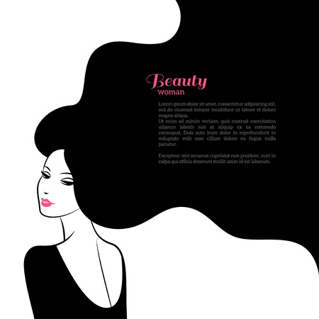 Illustration pour Abstract Fashion Woman with Long Hair. Vector Illustration. Stylish Design for Beauty Salon Flyer or Banner. Girl Silhouette cosmetics, beauty, health and spa, fashion themes. - image libre de droit