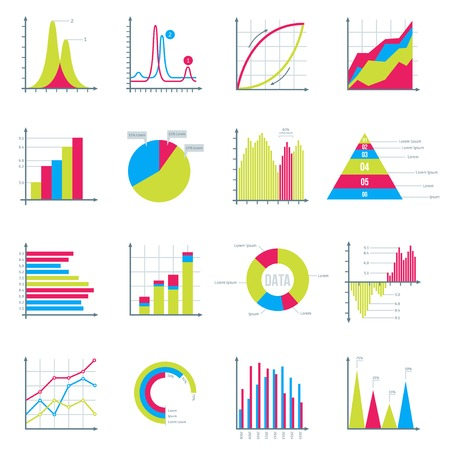 Ilustración de Infographics Elements in Modern Flat Business Style. Graphics for Data Visualization. Bar Diagrams, Pie Charts Diagrams, Graphs showing growth. Icons Set Isolated on White. Vector illustration. - Imagen libre de derechos