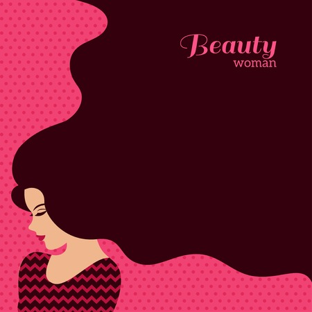 Illustration pour Vintage Fashion Woman with Long Hair. Vector Illustration. Stylish Design for Beauty Salon Flyer or Banner. Girl Silhouette - cosmetics, beauty, health  spa, fashion themes. - image libre de droit