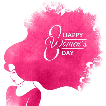 Ilustración de Watercolor Fashion Woman with Long Hair. Vector Illustration. Happy International Womens Day Greeting Card Design. Flowers Pattern. Typographic Composition for 8 March Day - Imagen libre de derechos