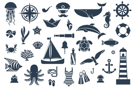 Ilustración de Flat icons with sea creatures and symbols. Vector illustration. Marine symbols. Sea leisure sport. Nautical design elements. - Imagen libre de derechos