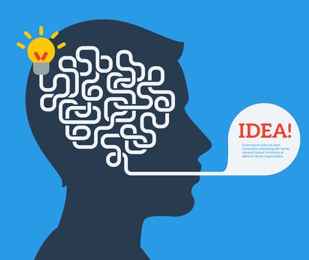 Ilustración de Creative concept of human brain, vector illustration. Flat style. Business Idea Development poster or banner. Man head with abstract brain inside. - Imagen libre de derechos