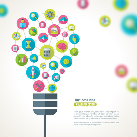 Illustration pour Light Bulb with Business Icons Pattern. Vector Illustration. Business Idea Creative Concept. Idea Abstract Infographics Template. - image libre de droit
