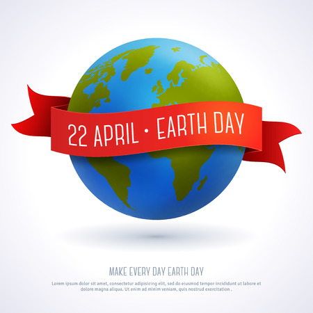 Ilustración de Vector illustration of earth globe with red ribbon and text Earth Day 22 April. Ecology concept. Earth day card template. - Imagen libre de derechos
