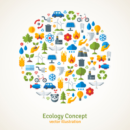 Ilustración de Ecology flat icons arranged in circle. Vector illustration. Hand with sprout, hand with water drop. Solar energy sign, wind energy sign, wild animals. Save the planet concept. - Imagen libre de derechos