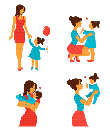 Illustration for Happy cheerful family. Vector illustration. Mother and baby laughing and hugging. Sweet characters set for Happy Mothers Day Design. Vintage ornate style. - Royalty Free Image