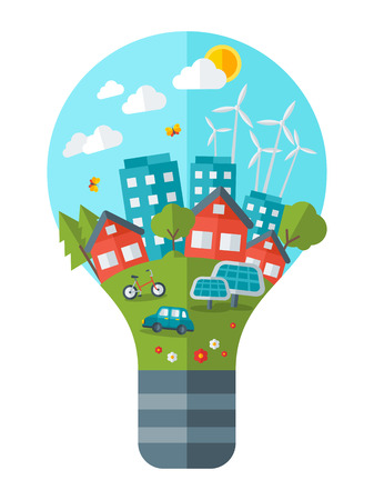 Illustration pour Think green concept vector illustration. Green city in light bulb.  Save world. Save the planet. Save the Earth. Creative concept of Eco Technology. - image libre de droit