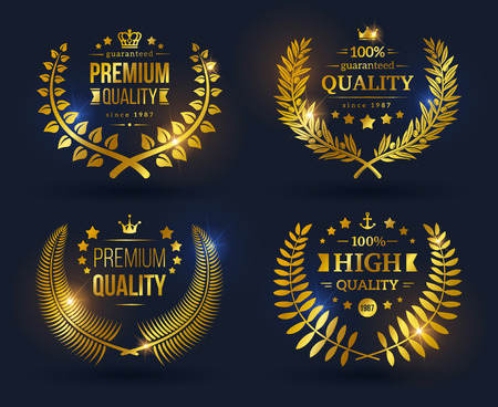 Illustration for Vector quality emblems with laurel wreath. Golden laurel wreath with crowns, stars and ribbons on black background. Shining glossy Quality Guarantee sign. - Royalty Free Image