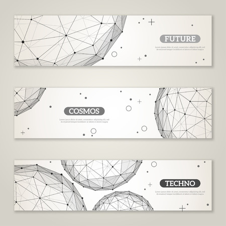 Illustration pour Banners set with wireframe mesh polygonal elements. Spheres with connected lines and dots. Connection Structure. Geometric Modern Technology Concept. Abstract molecules design. Medical background - image libre de droit