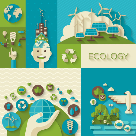 Ilustración de Flat design vector concept illustration with icons of ecology, environment, green energy and pollution. Save world. Save the planet. Save the Earth. Creative concept of Eco Technology. - Imagen libre de derechos